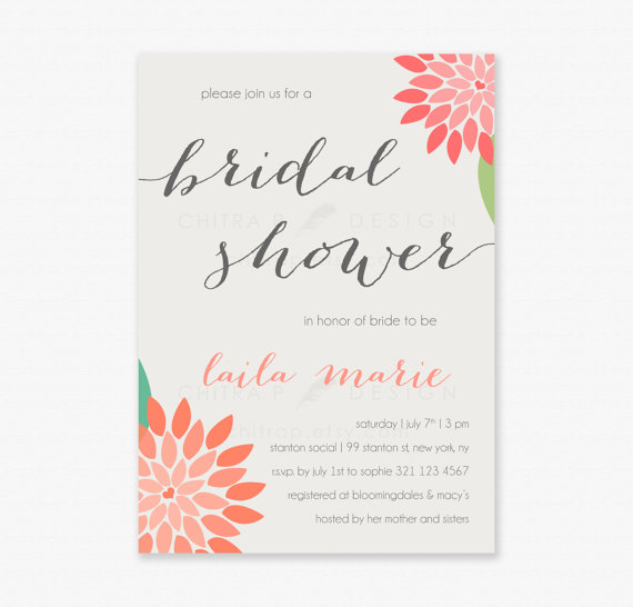 Mariage - Boho Floral Bridal Shower Invitations - Printed, Orange Gold Baby Sprinkle Pink Coral Whimsical Engagement Tan Green Brunch Striped - #060
