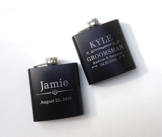 Wedding - 1 Flask, Personalized Groomsmen Gift, Engraved Hip Flask, Etched Whiskey Flask, Best Mans Gift, Bridal Party, Wedding Party Gift