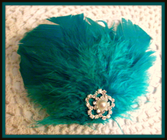 Mariage - Teal Blue Feather Fascinator