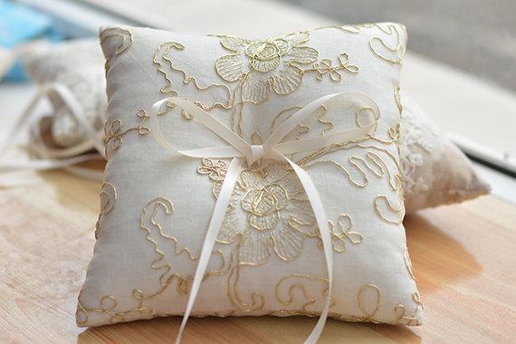 rring bearer pillow golden lace ring bearer pillow wedding ring pillowrign pillow with golden string - Wedding Ring Pillow