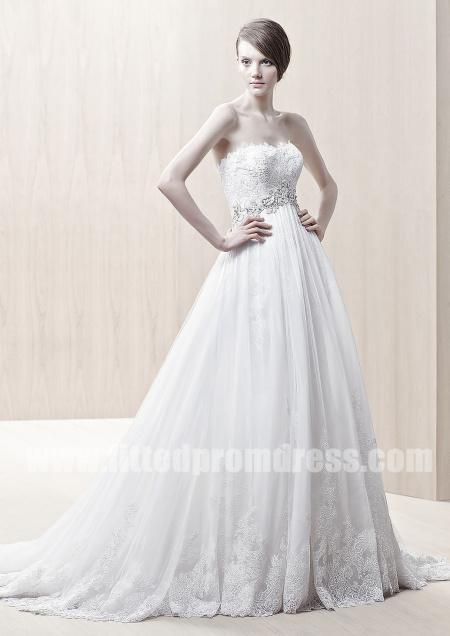 Wedding - Enzoani Ghislaine Strapless A Line Wedding Gowns