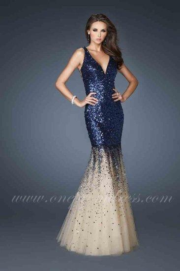 Deep V Neck Sequin Prom Dress By La Femme 19097 Royal Blue 2335911
