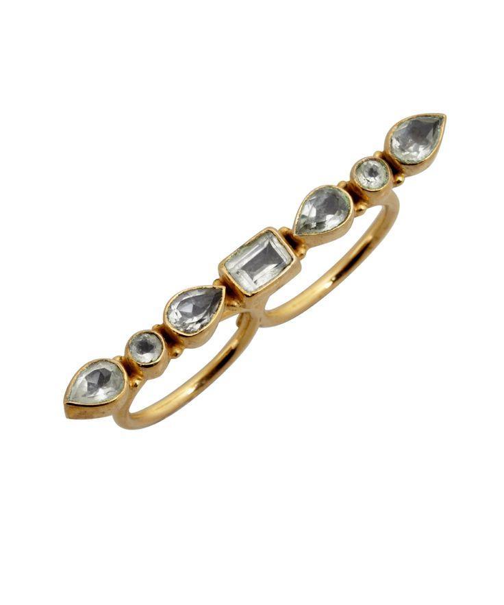 زفاف - Soixante Neuf Quartz And Gold Stone Bar Double Ring