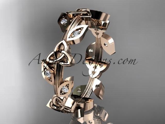 Wedding - 14kt rose gold diamond celtic trinity knot wedding band, engagement ring CT7193B