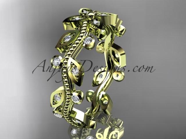 Mariage - 14k yellow gold diamond leaf and vine wedding ring, engagement ring, wedding band ADLR3B