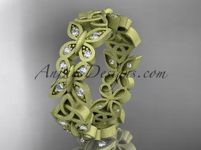 Wedding - 14kt yellow gold diamond celtic trinity knot matte finish wedding band, engagement ring CT7198B