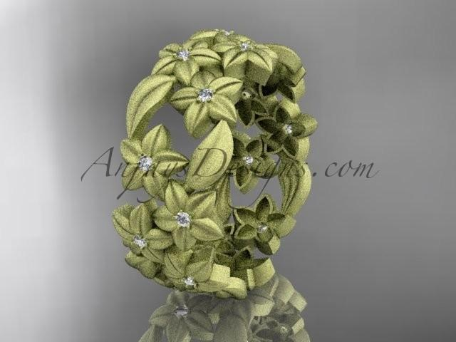 Mariage - 14kt yellow gold diamond floral, leaf and vine wedding ring,engagement ring ADLR250