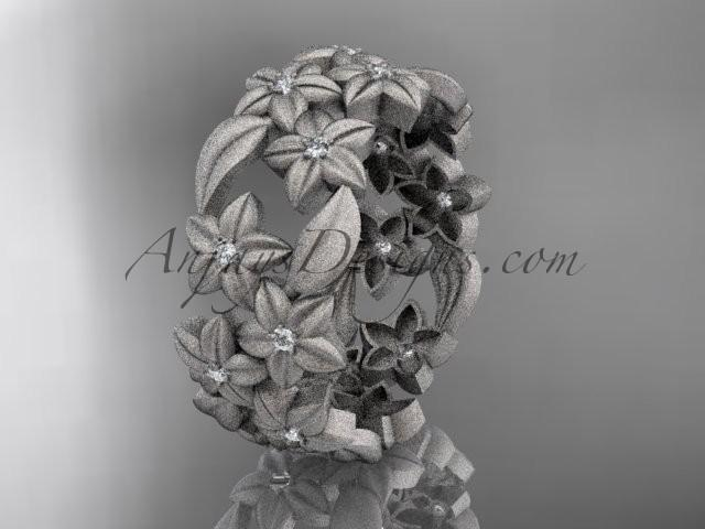 Mariage - 14kt white gold diamond floral, leaf and vine wedding ring,engagement ring ADLR250