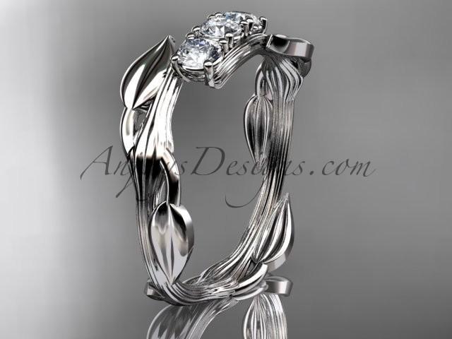 Wedding - Platinum diamond leaf and vine three stone ring ADLR247