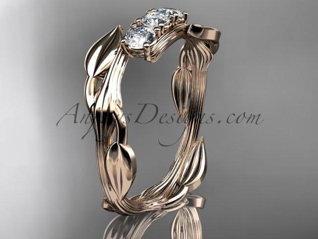 Mariage - 14kt rose gold diamond leaf and vine three stone ring ADLR247
