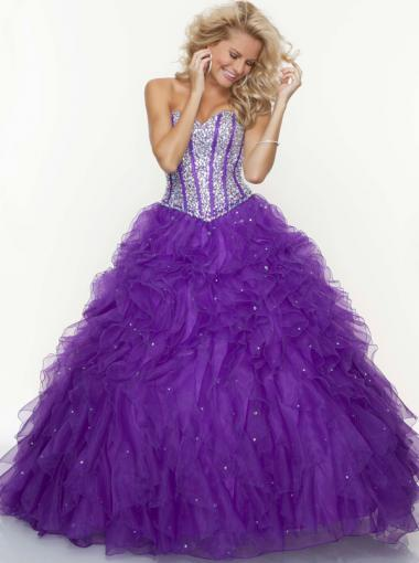 Wedding - Ball Gown Sweetheart Natural Floor Length Sleeveless Beading Ruffle Lace Up Organza Deep Aqua Coral Bright Purple Prom / Homecoming / Evening Dresses By Paparazzi 93085