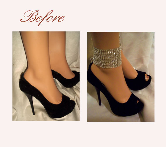 Wedding - Beautiful Sparkling Silver Beaded Ankle Glams, Ankle Bracelets, Anklets, Ankle Cuffs, Silver Jewelry, Party Jewelry, Sexy Accessories