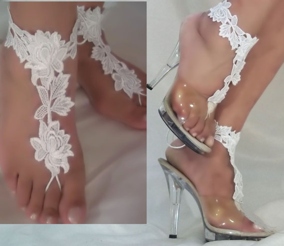 Beautiful White Lace Barefoot Sandals Bride Beach Bottomless Wedding Flower