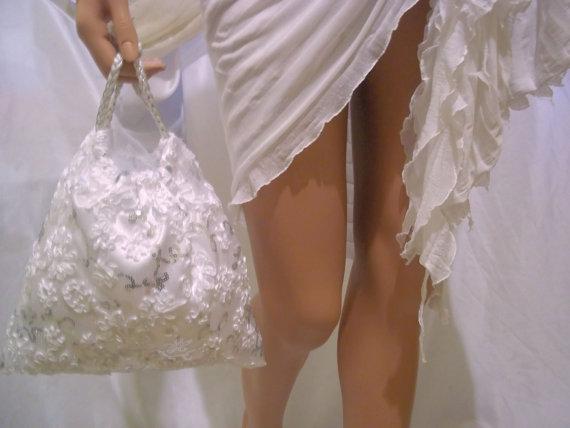 Свадьба - White Flower Lace Handbag, Bridal Handbag, Wedding Bag, Evening Bag, Party Handbag, Formal Occasion Bag, Bride Accessories