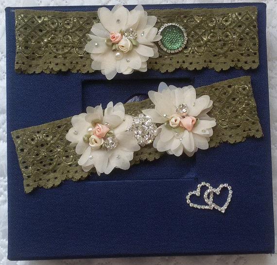 زفاف - Wedding leg garter, Wedding accessoaries, Bridal accessoary, Oil green wedding garter, Chiffon Flower Rhinestone Lace Garters