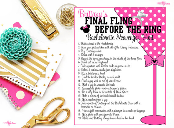 Disney Bachelorette Party Scavenger Hunt Personalized And Printable
