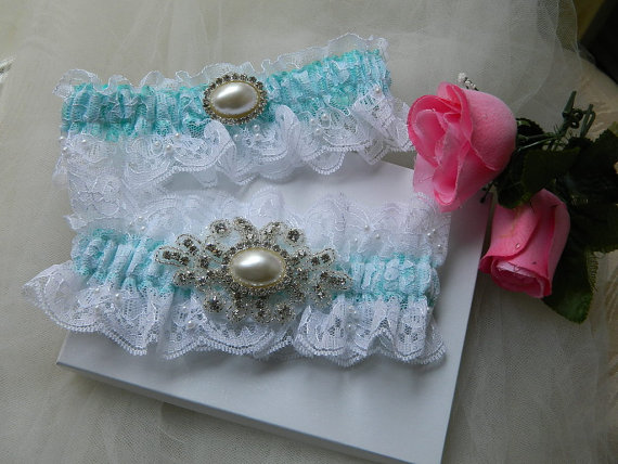 Свадьба - Wedding Garter Set, White Chantilly Lace aND Tiffany Blue Satin With Rhinestone And Pearl Applique