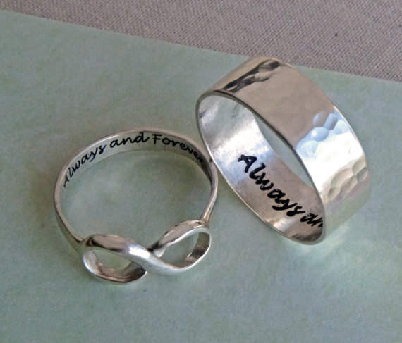 His And Hers Infinity Ring Set Always And Forever Rings For Two