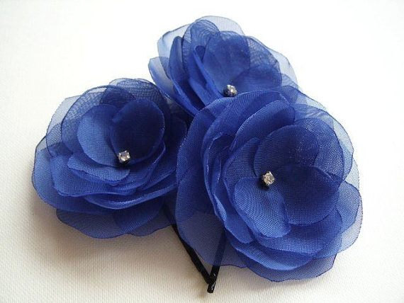 Mariage - Sapphire Hair Flowers  Blue Boutonniere Rhinestones Wholesale Discount Price Blue Bridesmaids Blue Hair Clips Blue Shoe Clips Blue Lapel Pin