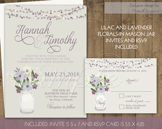Mariage - Country Mason Jar Wedding Invitation Set, DIY Rustic Wedding Invite String Lights Purple Florals Babys Breath Printable Barn Digital DIY set