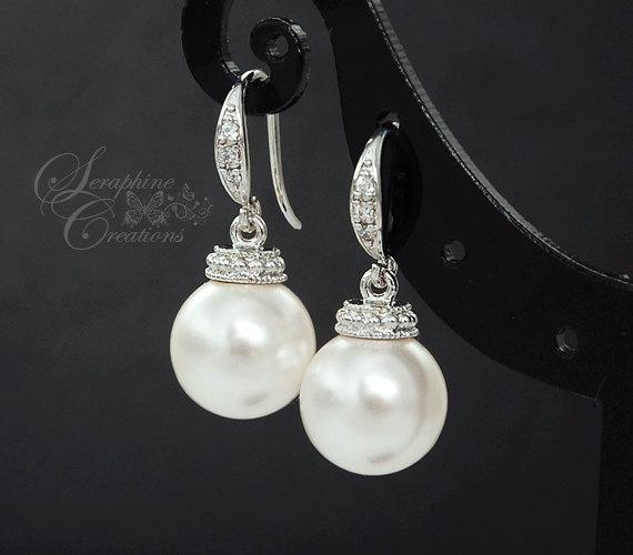 Hochzeit - Pearl Bridal Earrings Wedding Jewelry Swarovski Pearls Cubic Zirconia Vintage Bridesmaid Gift White Ivory/Cream Round Dangle Classic Drop