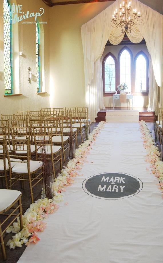 40ft Ivory Wedding Aisle Runner With Custom Monogram Initials W/ Non ...