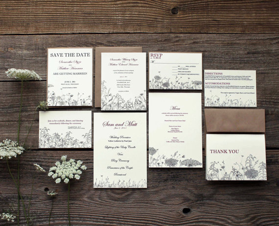 Свадьба - wildflower floral wedding invitation suite - 50 save the dates, invitations, response cards, reception cards, programs, thank you cards