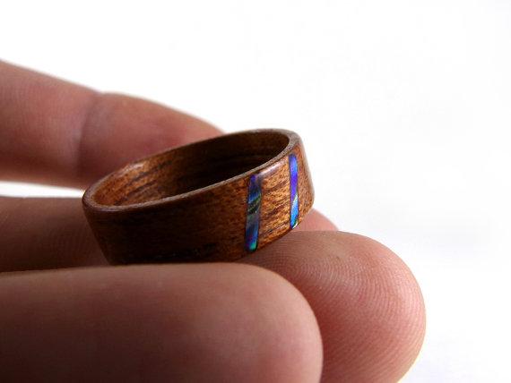 Bentwood Ring, Spanish Cedar, Blue Paua Abalone Inlay