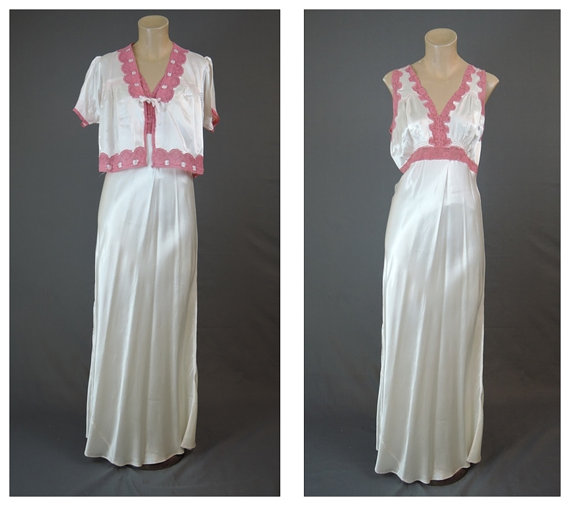 Hochzeit - 1940s White Rayon Satin Nightgown & Bedjacket Set with Dark Pink Lace - fits 36 inch bust - Suavelle, Vintage