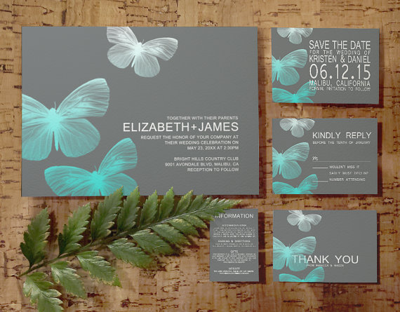Modern Butterfly Wedding Invitation Set/Suite, Invites, Save The ...