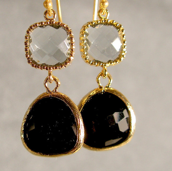 Hochzeit - Gray Onyx Glass Gold Bridesmaid Earrings, Wedding Jewelry, Bridal Earrings, Gold Earrings (881-2984)