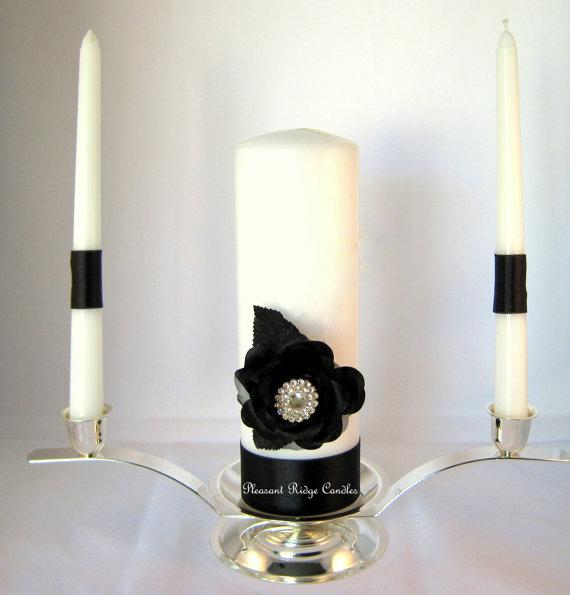 Black Unity Candle Wedding Candle Bling Unity Candle White
