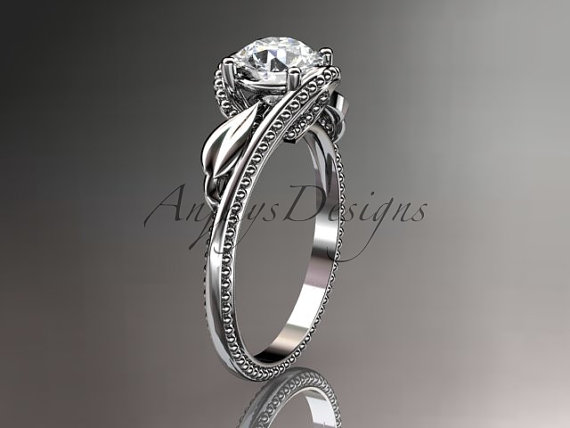 زفاف - Unique 14kt  white gold  engagement ring with moissanite center stone ADLR322