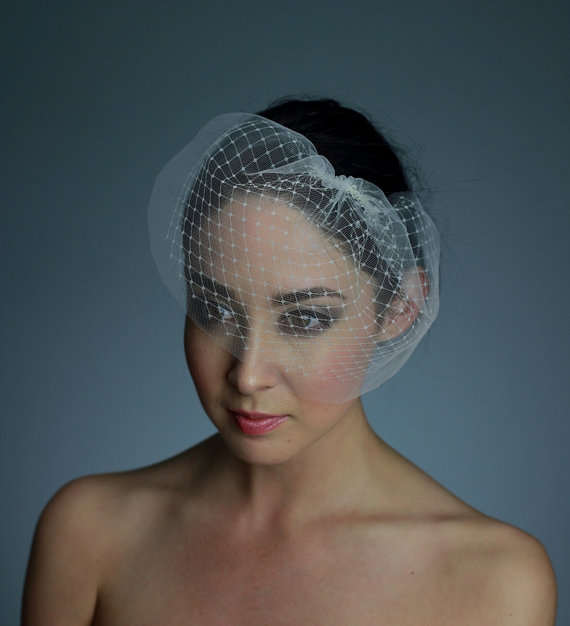 Mariage - Double Layer Tulle and French / Russian Net Mini Birdcage Veil in Ivory White or Black - READY TO SHIP in 1 week