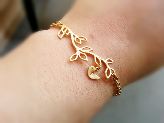 Boda - BUY 2 GET Any 1 FREE Gold Branch Baby Bird Initial Bracelet Gold Branch Bracelet Personalized Jewelry Engraved Initial Bracelet Bird Charm