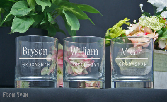 Hochzeit - Etched Rocks Glasses / Personalized Groomsmen Gifts / Custom Wedding Party Glasses / Set of 6 / 16 Designs!