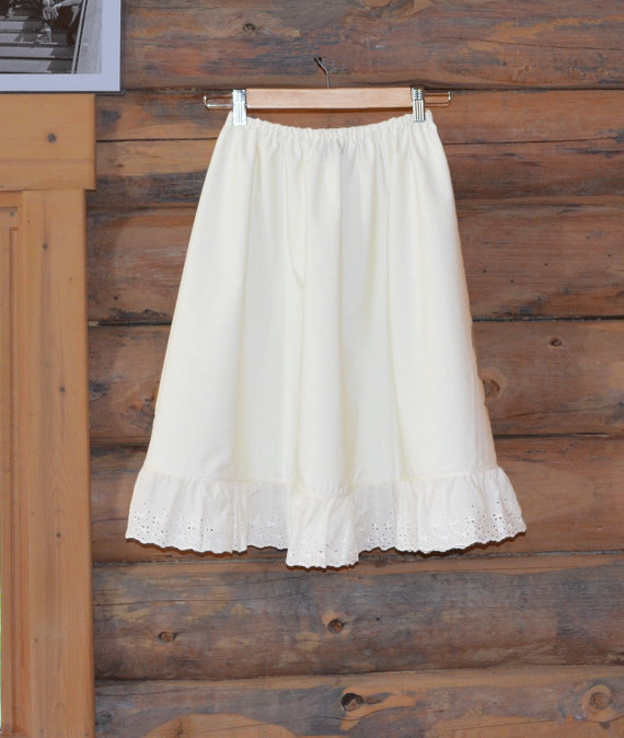 Mariage - Ready to Ship Cotton Bamboo Natural Half Slip Skirt Extender Ivory A-line Eyelet Lace Petticoat Shabby Chic Off White Mori Girl