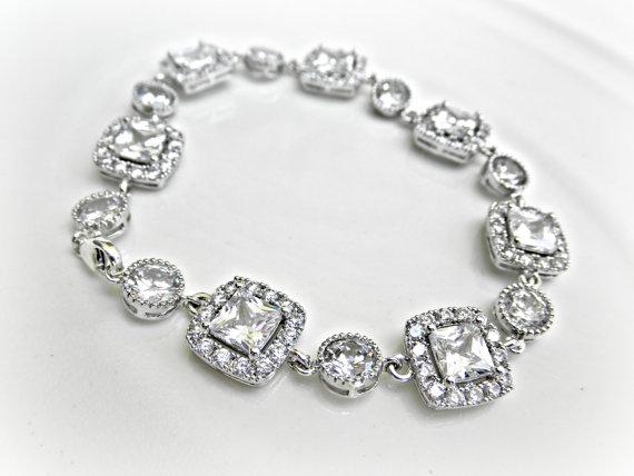 Mariage - Rhinestone Wedding Bracelet - Cushion Cut Cubic Zirconia, Bridal Bracelet, CZ Wedding Bracelet