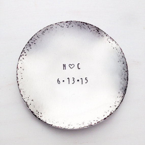 Engagement Ring Dish Custom Stamped Metal Jewelry Holder Initial