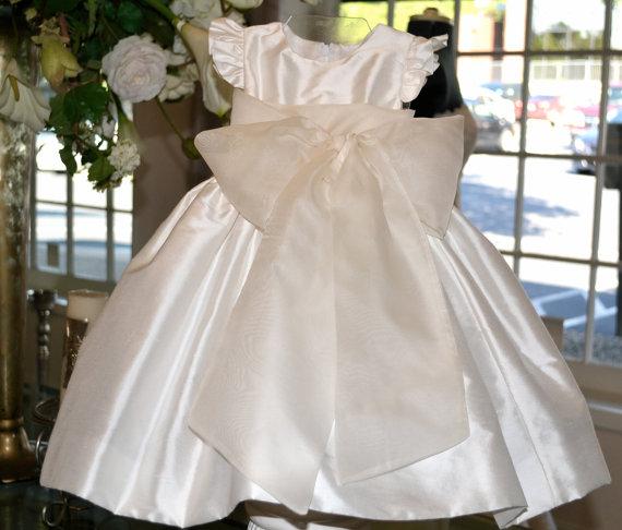 Wedding - Flower Girl Dresses, Baptism Dress, Christening Dress, 1st Birthday Dress, Dedication Dress, Blessing Dress, Baby Dress / White or Ivory