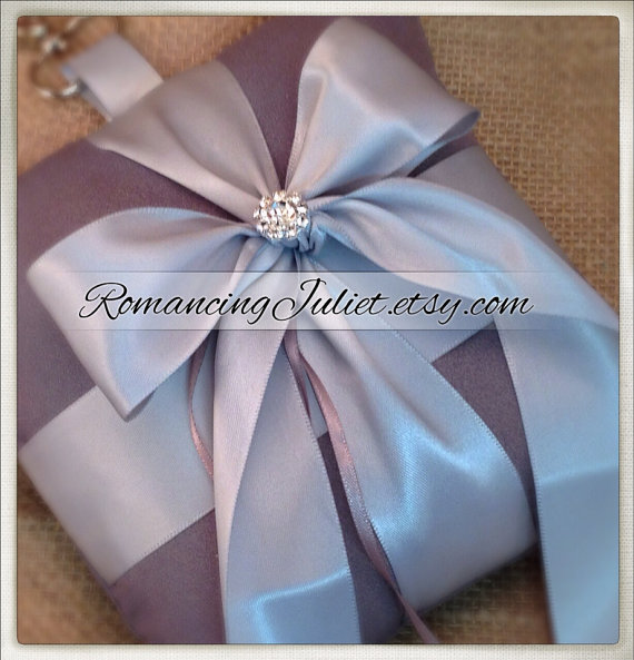 زفاف - Pet Ring Bearer Pillow with Vibrant Rhinestone Accent...Made in your custom wedding colors...show in charcoal/silver gray