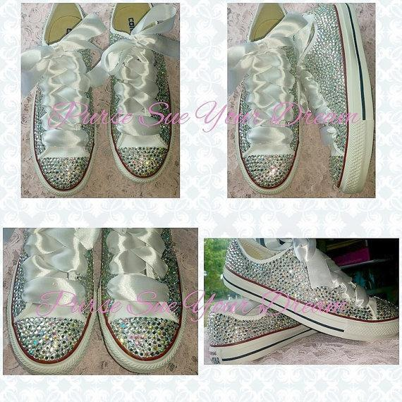 9dc377198ced Gorgeous Custom Converse Wedding Bridal Shoes - Swarovski Crystal Shoes - Rhinestone  Shoes