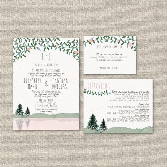 Mariage - Wedding Invitation Suite DEPOSIT, DIY, Rustic, Woodland, Hipster, Country, Printable, Custom, Watercolor, Mountain (Wedding Design #54)