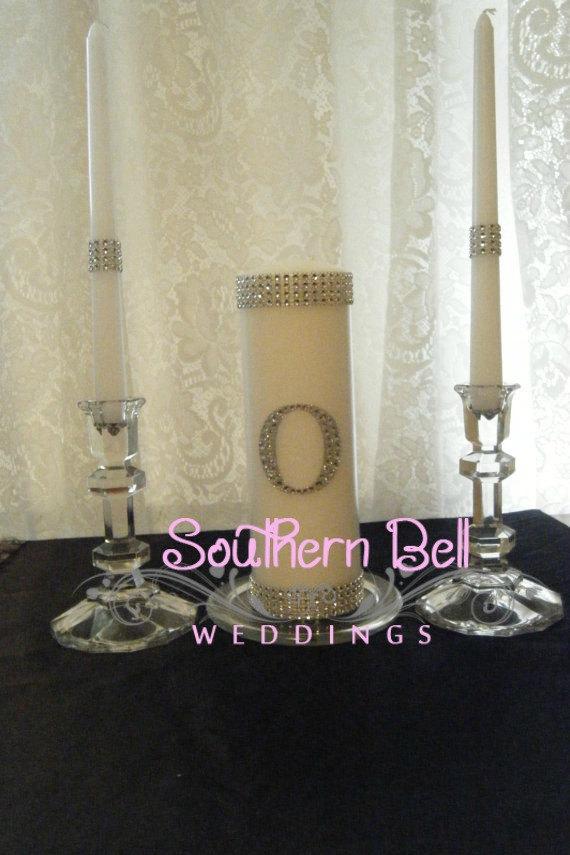 Mariage - Unity Candle Set Silver Bling Monogram White Wedding Unity Candle Set Elegant Wedding Candle Set