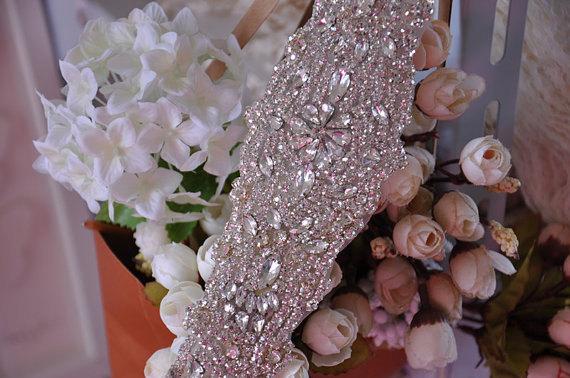 Mariage - Rhinestone Applique Bridal Accessories Crystal Trim Rhinestone Beaded Applique Wedding Dress Sash Belt Headband Jewelry BJ