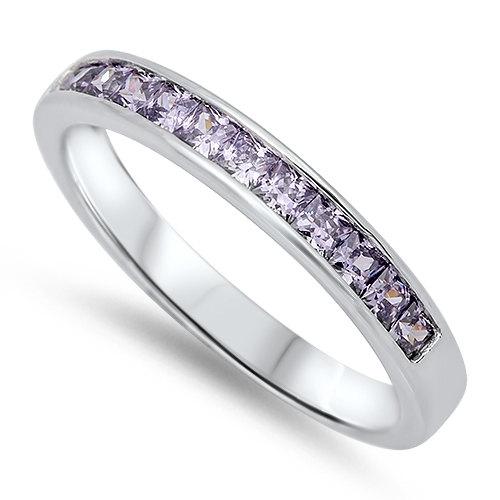 زفاف - 3MM 925 Sterling Silver Wedding Engagement Anniversary Half Eternity Channel Setting Princess Cut Purple Amethyst Band Ring Love Gift