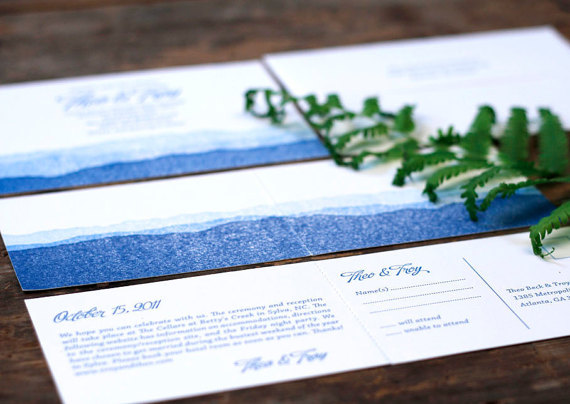Mariage - Letterpress Wedding Invitations: 'Blue Ridge Mountains' (custom printed)