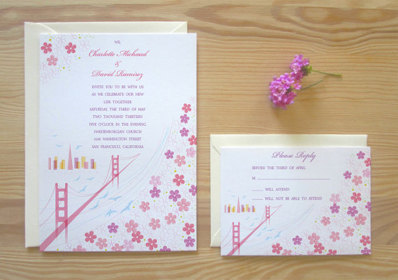 Mariage - San Francisco Wedding Invitation & RSVP Card Package - Blossoming Birds