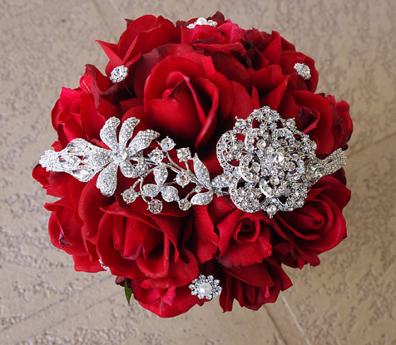 Silk red brooch wedding bouquet natural touch roses and flower silk red brooch wedding bouquet natural touch roses and flower swag brooch jewel 8 bride bouquet rhinestones mightylinksfo