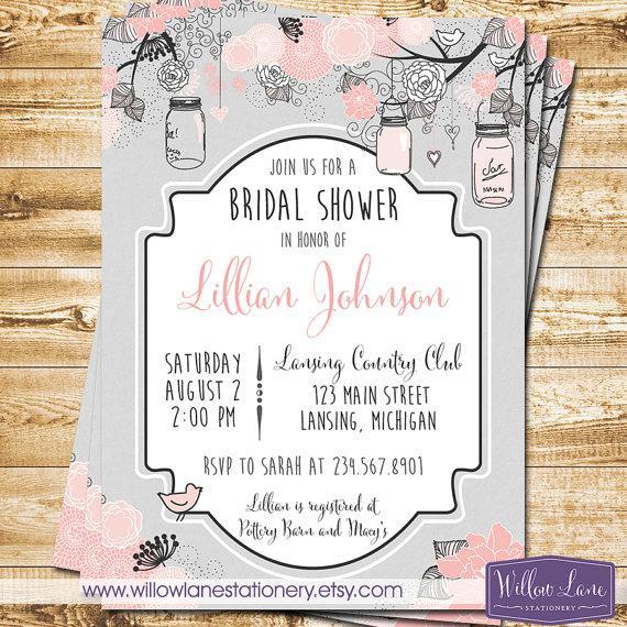 Mariage - Mason Jar Bridal Shower Invitation - Hanging Mason Jars Bridal Shower Invite - Gray and Blush Pink Mason Jar - Wedding - 1258 PRINTABLE